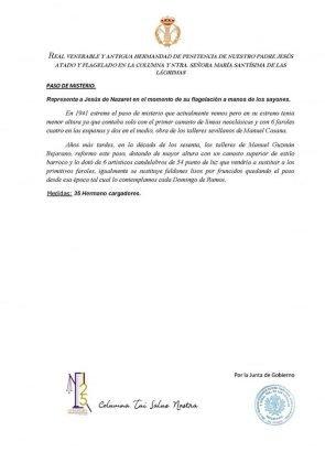 Destalles de la Procesión extraordinaria de la Hermandad de Columna de San Fernando 2018