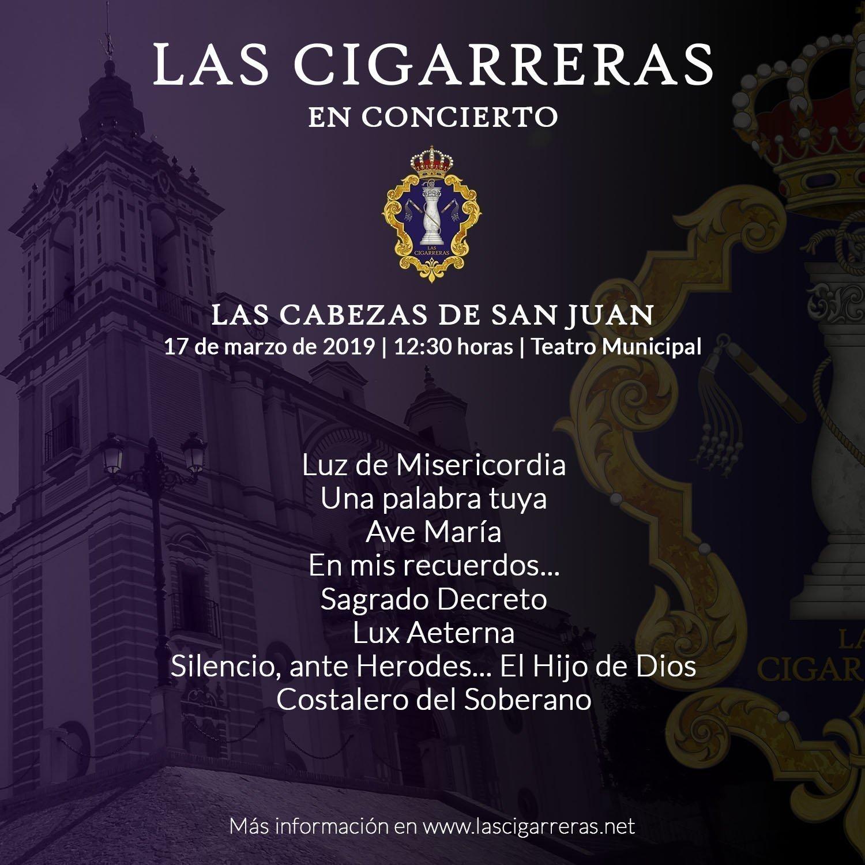 Repertorio del concierto de Las Cigarreras en las Cabezas de San Juan