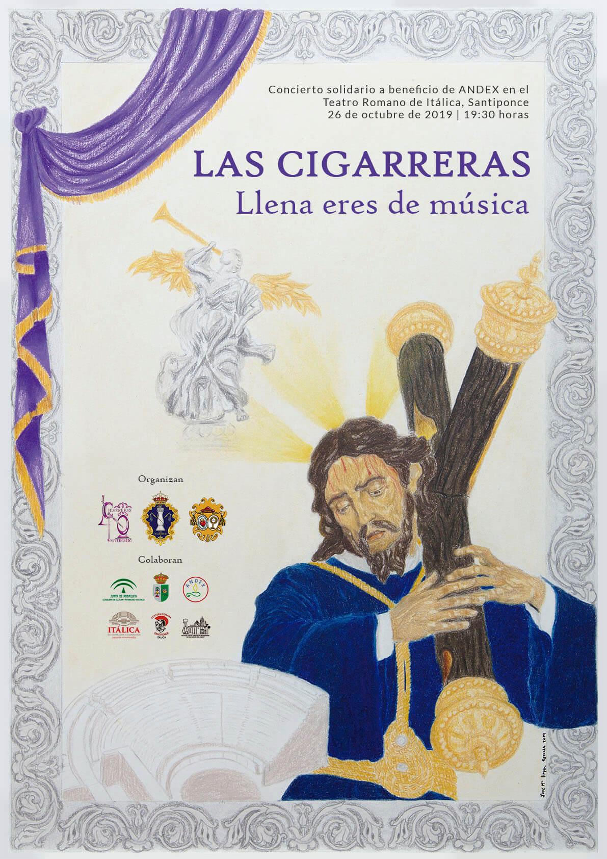 Cartel del concierto de Las Cigarreras en el Teatro Romano de Itálica 2019