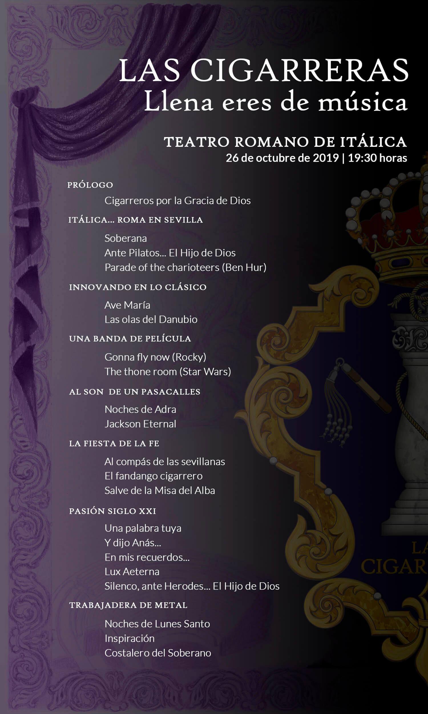 Repertorio del concierto del 40º aniversario de Las Cigarreras en el Teatro Romano de Itálica