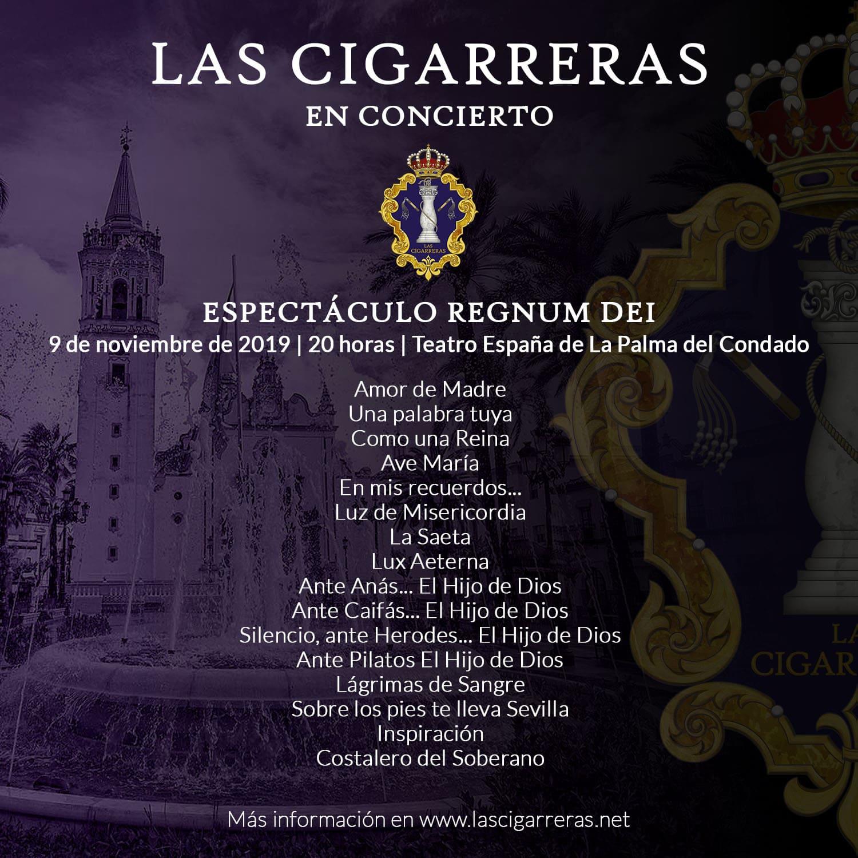 Repertorio del espectáculo Regnum Dei en La Palma del Condado 2019 | Las Cigarreras