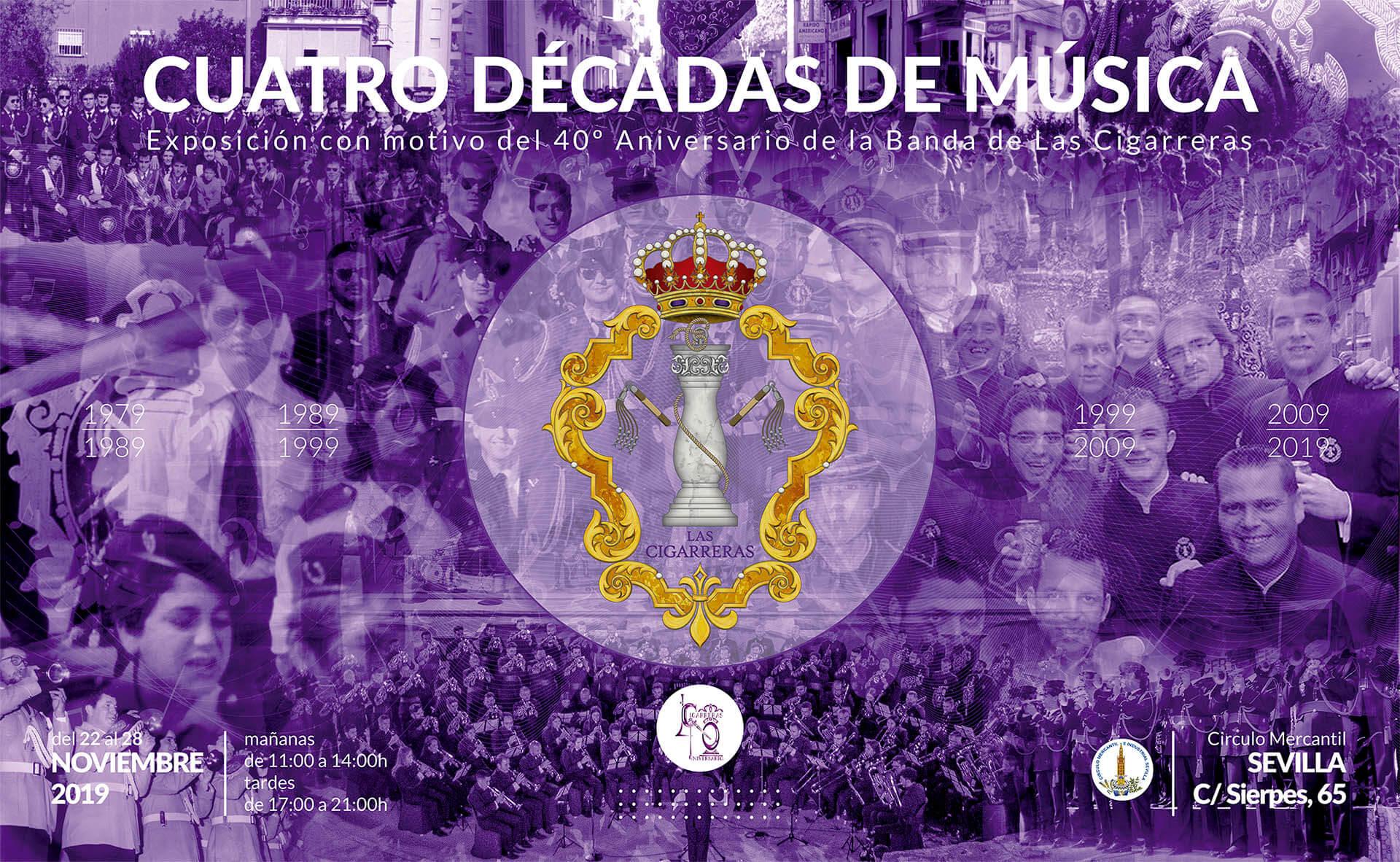 """Cartel de la exposición """"Las Cigarreras... Cuatro décadas de música"""""""