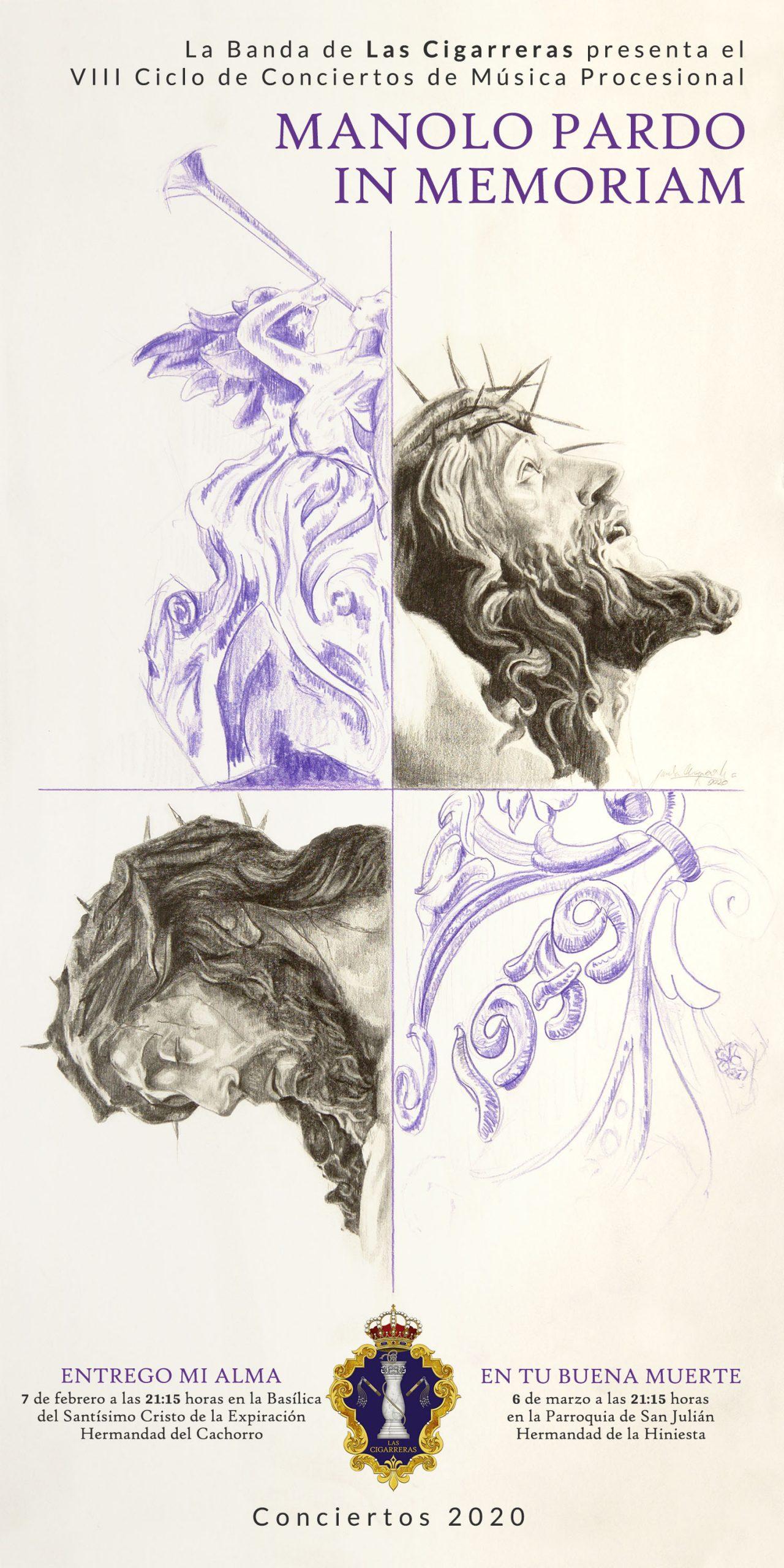 Cartel del VIII Ciclo de Conciertos Manolo Pardo, obra de Paula Arquero.