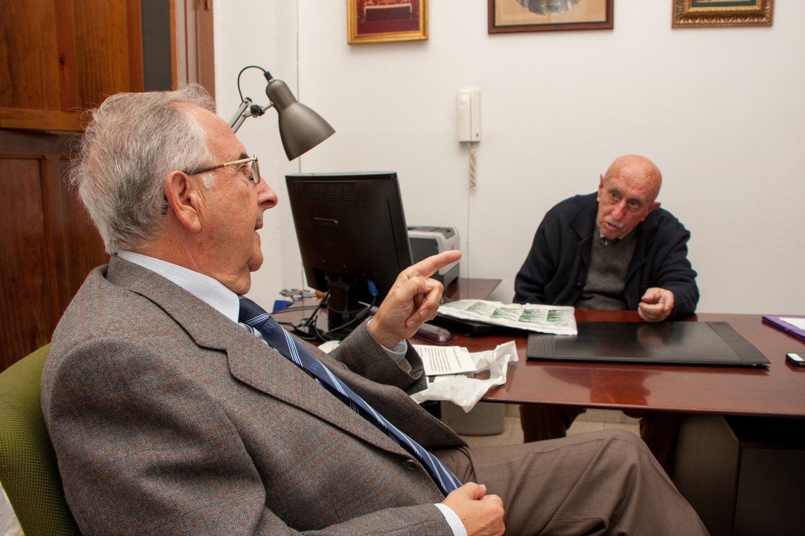 Fernando Vega y Juan Palacio durante la entrevista.