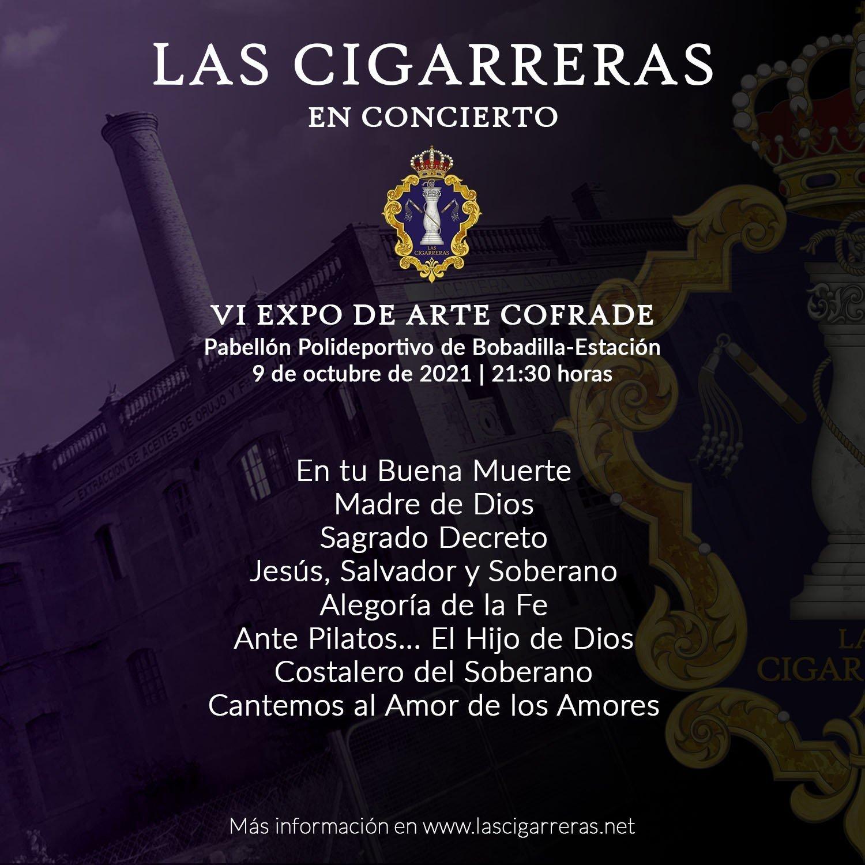 Repertorio del concierto de Las Cigarreras en la VI Expo Arte Cofrade de Bobadilla Estación 2021